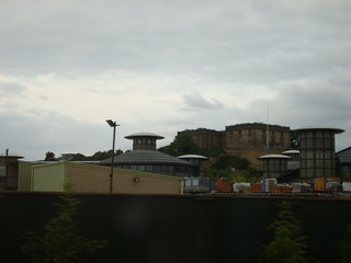 Hilltop building, seen from a train leaving Nottingham station