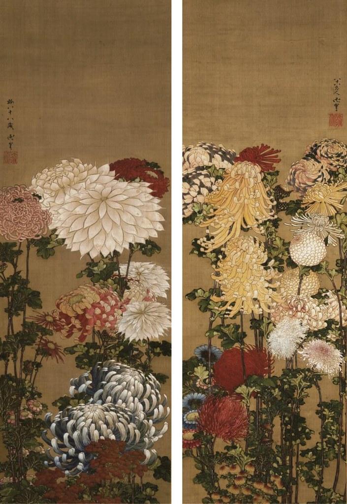 葛飾北斎・応為《菊図》(1840-49年頃、北斎館)