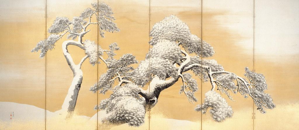 国宝《雪松図屏風(左隻)》円山応挙筆(江戸時代・18世紀、東京・三井記念美術館)