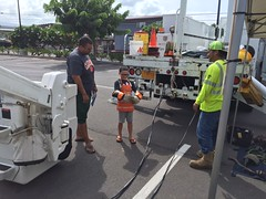 "Hawaii Electric Light at Home Depot Kailua-Kona's ""Fire Fest"" - October 7, 2017: Keiki get a hands-on opportunity to try on personal protective equipment"