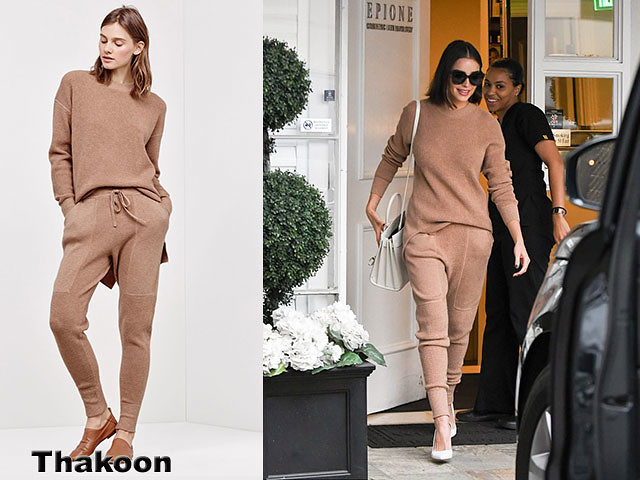 Thakoon-waffle-knit-merino-jogging-bottoms-&-sweater, Olivia Culpo, Thakoon waffle knit merino-jogging bottoms, Thakoon waffle knit merino-jogging pants, form-fitting beige co-ords, comfy joggers, Saint Laurent, Saint Laurent handbag, Thakoon sweater, jogger pants trend, jogger bottoms trend, Thakoon, Thakoon joggers,