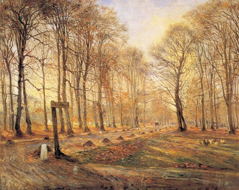 A Late Autumn Day in Dyrehaven, Sunshine by Theodor Philipsen, 1886