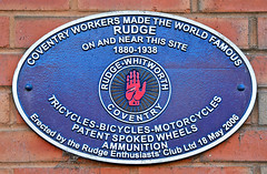 Photo of Rudge-Whitworth Coventry blue plaque
