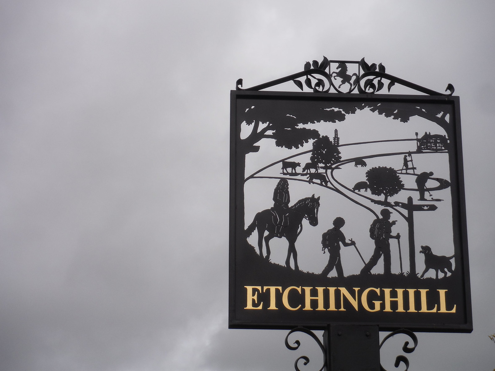 Etchinghill village sign SWC Walk 93 - North Downs Way: Sandling to Folkestone or Dover (Lunch Pub Diversion)