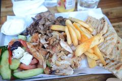 Mixed lamb and chicken gyros, pita, salad, chips, tzatziki AUD20 - Mega Yeeros, Oakleigh