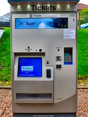 Scotland West Highlands Argyll Balloch train station a ScotRail ticket machine that can be used when the ticket office is closed 14 September 2017 by Anne MacKay