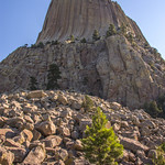 Devils Tower, also known as Bear Lodge Butte, is a dramatic 265m tall columnar phonolite protrusion towering out of the surrounding plains, visible for tens of kilometers. The 56-66 million year old phonolite porphyry rock juts out (igneous intrusion) from a bed of 225 to 195 million year old sedimentary rocks, mainly red sandstone and maroon siltstone from the Triassic Period. How that happened remains unclear, and there are two major theories: the first, laccolith theory, has the magma chamber create enough pressure to instrude into the sedimentary rock layers, deforming the strata and forming a dome. The second, volcanic theory suggests that Devils Tower is a volcanic plug, all that remains of an ancient volcano. Both theories have the igneous rock only exposing after the weaker surrounding sedimentary rocks had eroded away, leaving the stronger, center igneous rocks intact.  Devils Tower is a sacred site to the Plains Tribes, who continue to hold ceremonies in the area.  In 1859 members of Capt William Raynolds' expedition to Yellowstone were the first to discover it.  The promontory was named by Col Richard Dodge, supposedly the native term for it as 'Bad God's Tower'.  As the Natives in fact greatly respect the site, the name has been seen as a big insult and there have been lawsuits attempting to name it correctly, as Bear's House/Bear's Home/Bear's Teepee/Home of the Bears in  Cheyenne, Lakota  and Crow,  and Home on the Rock in Kiowa. Recognizing its uniqueness, Congress in 1892 designated the area a forest reserve.  In 1906, President Theodore Roosevelt designated Devils Tower the first National Monument in the United States.  Devils Tower National Monument, Hulett, Wyoming