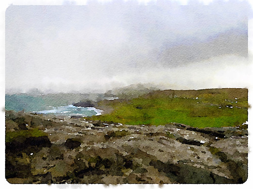 Ireland's Bloody Foreland in the photo app Waterlogue