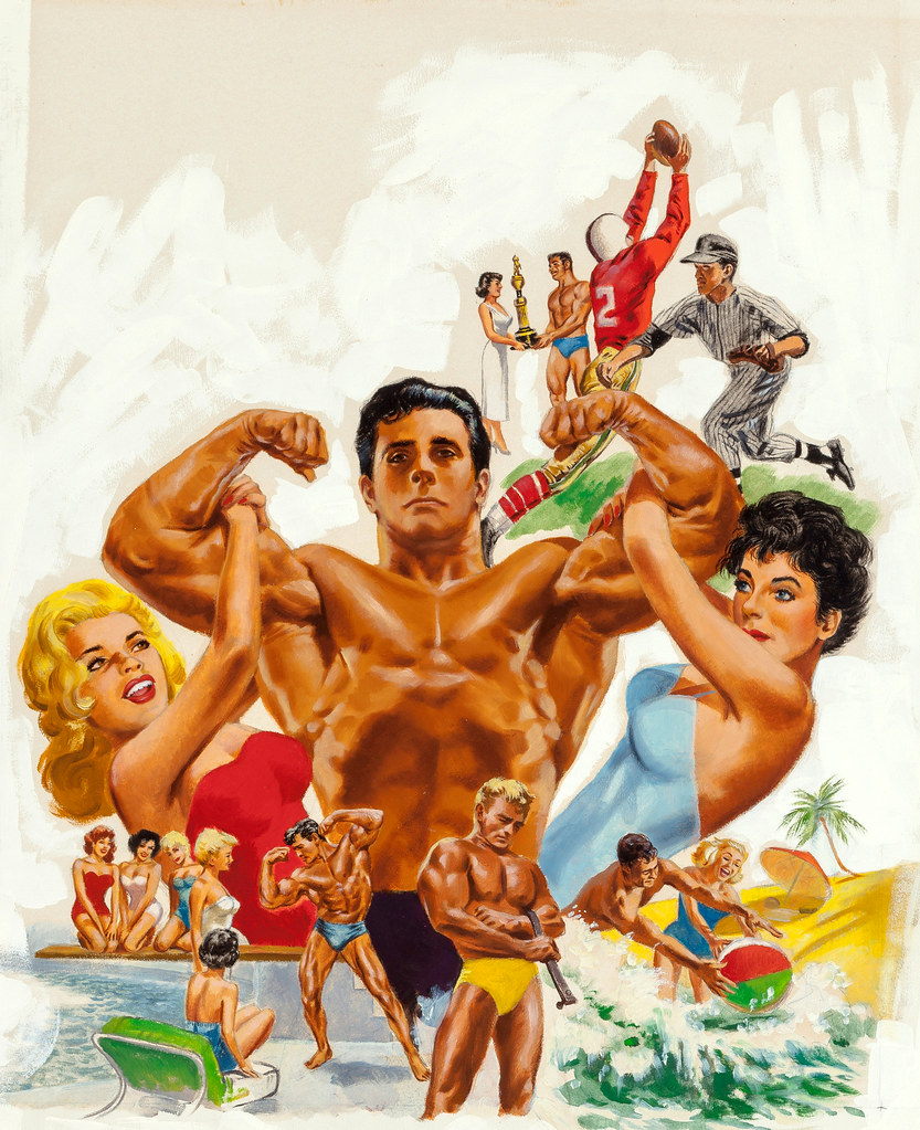 How to Build a Strong, Muscular Body booklet cover, circa 1957, with Jayne Mansfield and Joan Collins