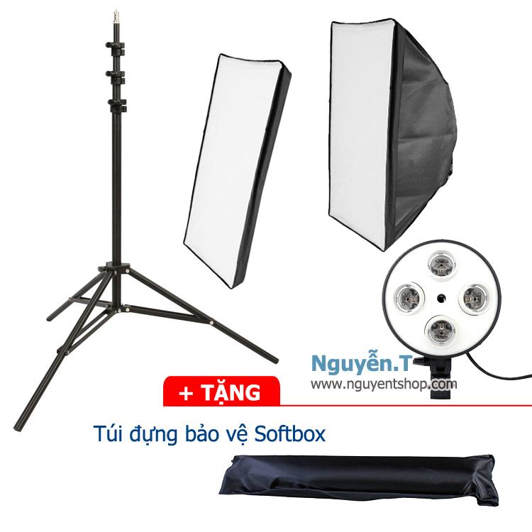 Bộ 1 Softbox quay phim đuôi Sứ 4 đèn 50x70cm Chân đứng 2m