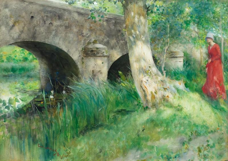 Carl Larsson - Bridge in Grez (1885)