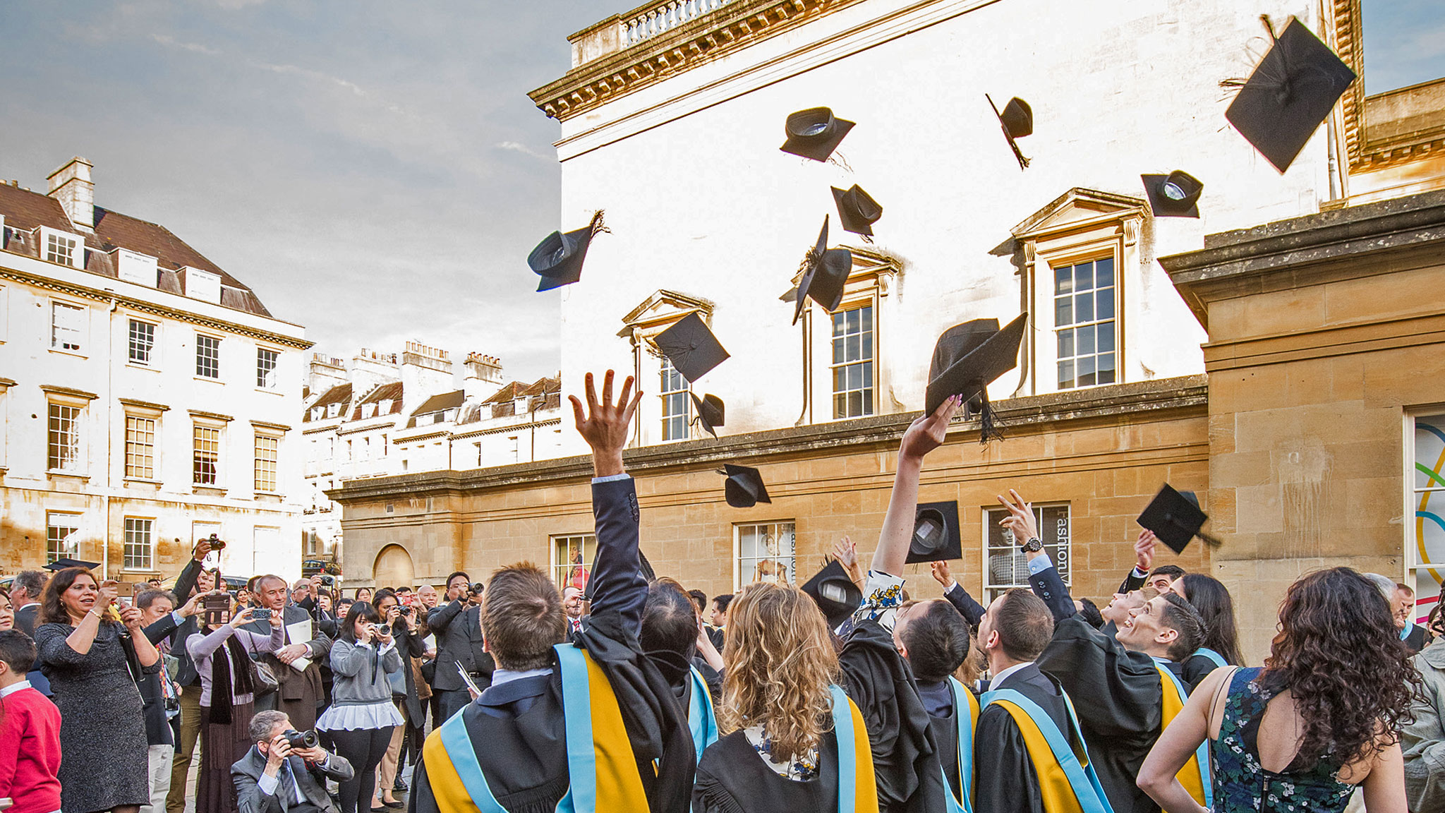 Students celebrate graduation outside the Assembly Rooms, Bath