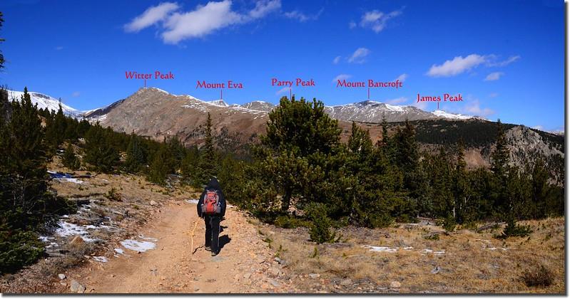 Looking Northwest at James Peak et al from Bill Moore Lake Trail near 11,185' (1)-1