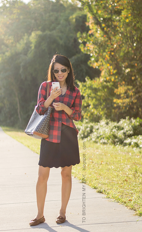 buffalo check plaid top, navy skirt with scallop hem, monogrammed tote, brown loafers
