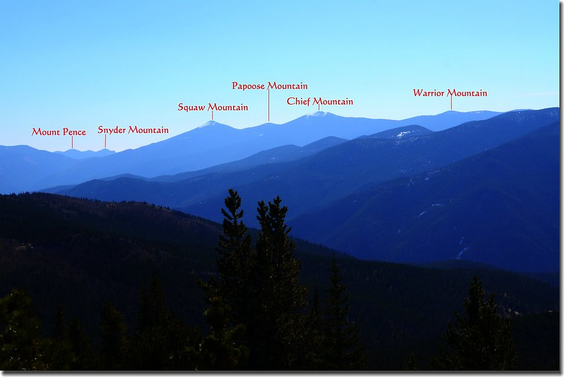 Looking Southeast at Squaw Mountain  et al. from Bill Moore Lake Trail 1-1
