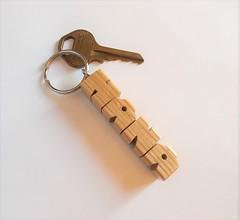 Oak Wood Name Keychain
