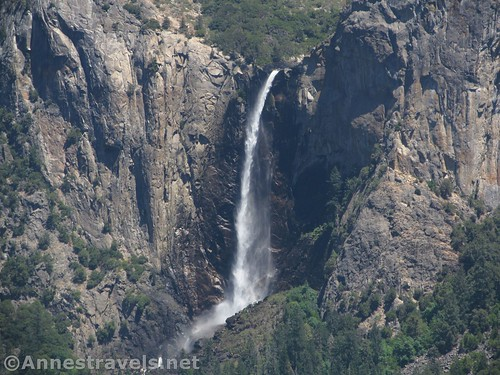 Close up of Bridalveil Falls from Artist Point in Yosemite National Park, California