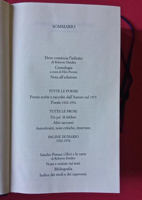 Sandro Penna, Poesie, prose e diari. Mondadori, i Meridiani; Milano 2017. Resp. gr. non indicata. Pag. VII: sommario [part.].