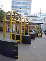 Security barriers in the city centre for Christmas - New Street at Corporation Street