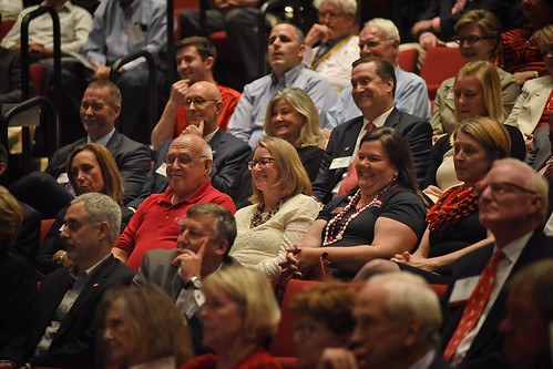 The Stewart Theatre audience reacts to the chancellor's speech.