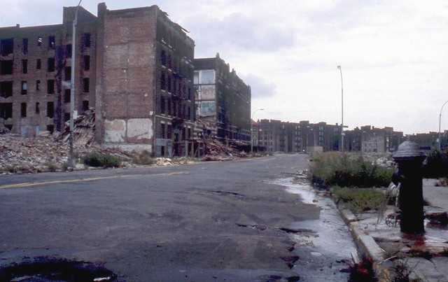More New York fun from the good old days! Deep in the Bronx on East 163rd Street, shown near the intersection with Tiffany Street. The 1970s weren't kind to New York and many other older cities. The Bronx was particularly decimated. March 1978.