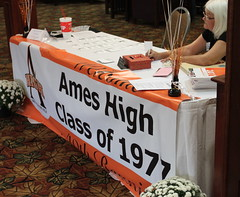 IMG_1265 2017-09-23 AHS 1977 40th Reunion Sat Eve photobyEdHendricksonJr Julie (Williams) Nordine at the banquet registration table
