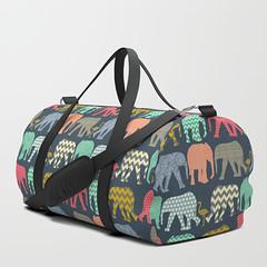 baby elephants and flamingos duffle bag