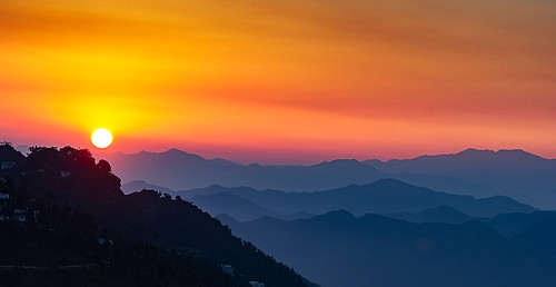 mussoorie sunset sun hills queen adventure fog clouds red trees nature beautiful canon 550d