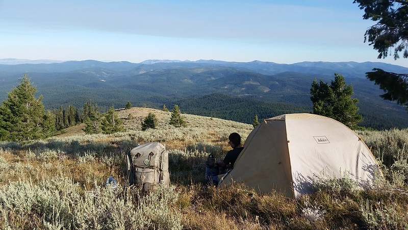We found a fairly flat spot just big enough for the tent next to a pine tree on the eastern side of Dixie Butte