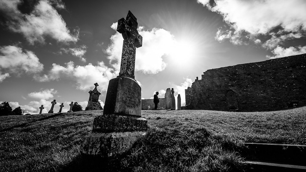 Clonmacnoise monastery ireland black and white street photography