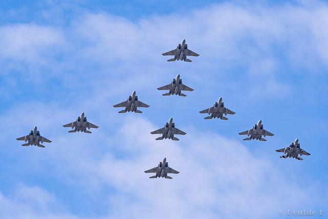 Komatsu AB Airshow Rehearsal 2017.9.14 (33) F-15 formation flight (Fly by Flight) Part 1