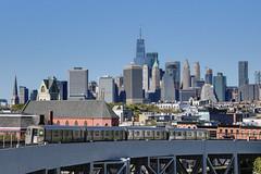 NYC Subway - Smith/9th St. Station - G train - R-68 2xxx - Manhattan Skyline - World Trade Center