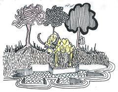 Inktober 2017 16 Three Tree and a Sheep