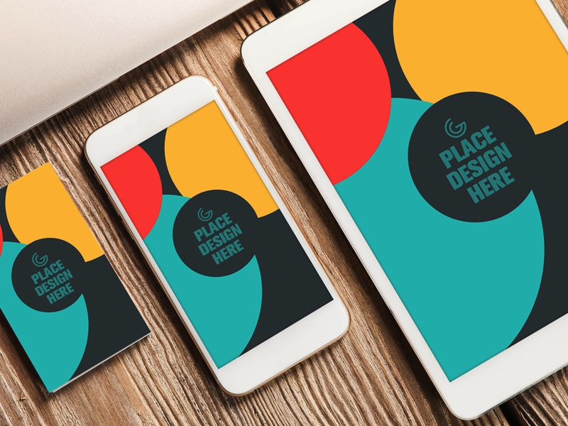 Mẫu mockup Business Card and Apple Devices