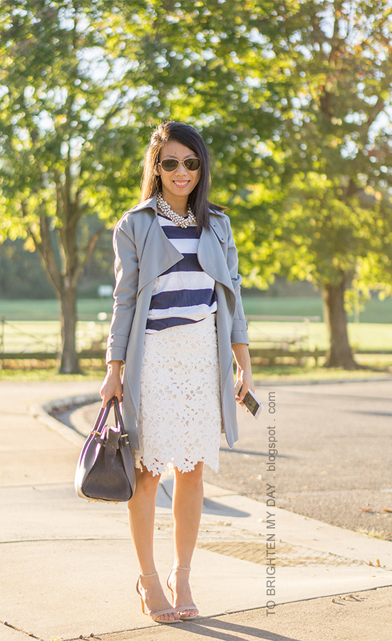 gray draped jacket, navy rugby striped top, pearl cluster necklace, beige floral pencil skirt, gray suede tote, nude heels