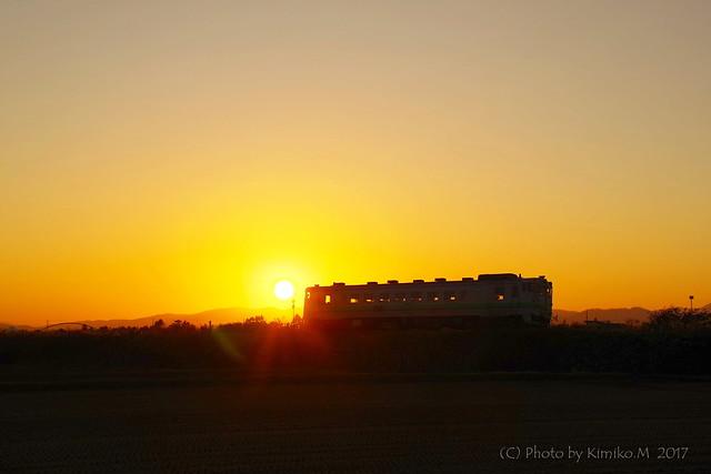 夕日とキハ40