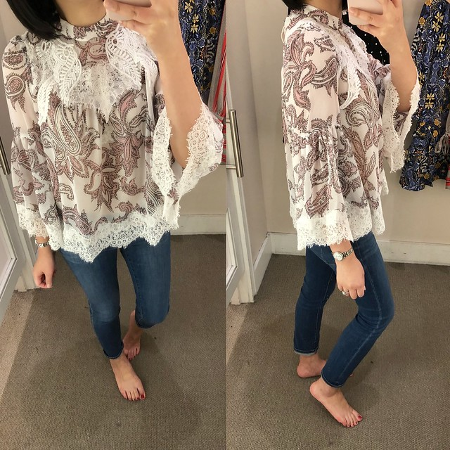 LOFT Paisley Lace Sleeve Blouse, size XSP