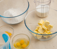 Flour, eggs, egg yolks, buttermilk, butter and milk as part of yellow cake ingredients.