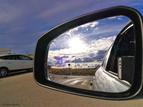 Clouds in a rearview mirror