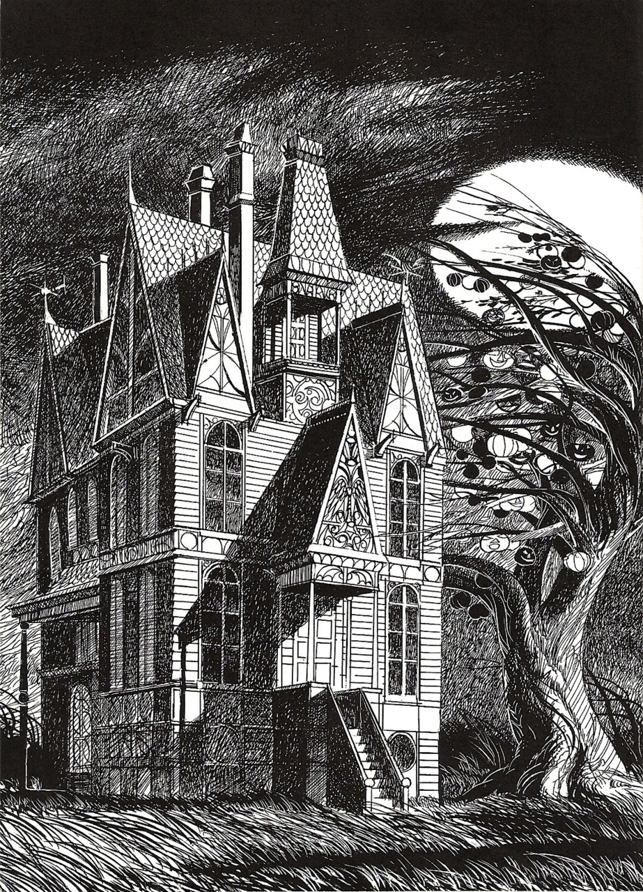 Joseph Mugnaini - House illustration from  The Halloween Tree, by Ray Bradbury,  1972