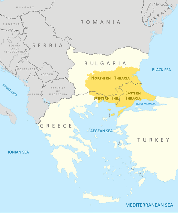 The modern boundaries of Thrace in Greece, Bulgaria and Turkey.