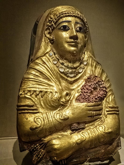 Roman Period Gilded Gesso Mummy Cartonnage of a Woman Hawara (possibly) Egypt 1st century CE