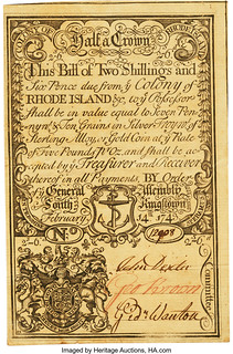 Rhode Island February 14, 1743 2 Shillings 6 Pence front