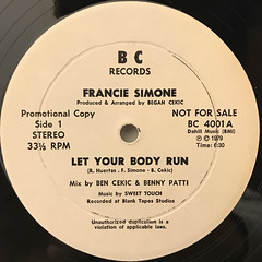 FRANCIE SIMONE:LET YOUR BODY RUN(LABEL SIDE-A)