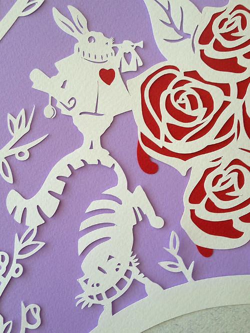 Custom Alice in Wonderland Ketubah by Papercuts By Oren
