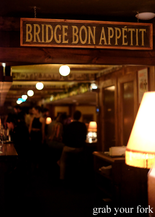 Entrance to Bridge Bon Appetit at Restaurant Hubert in Sydney