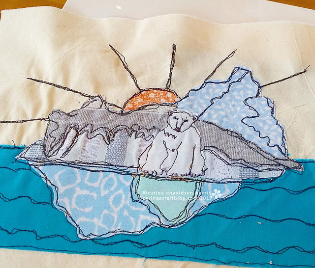 Polar bear - machine embroidery