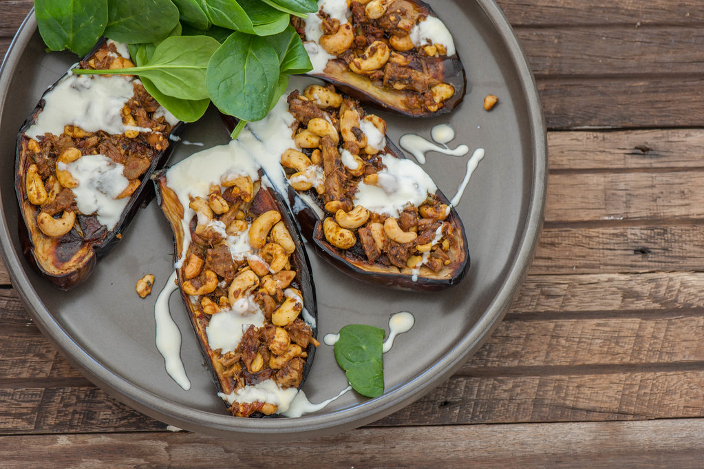 Curry Stuffed Eggplant with Yoghurt--2