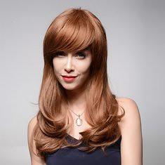 Long Elegant Human Hair Wig Side Bang Wave Virgin Remy Mono Top Capless 59cm (1064942) #Banggood