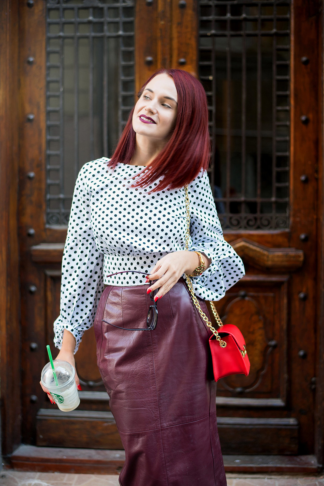 polka dots and leather skirt 1a